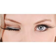 Mehron Eyelashes Long Black with Silver Diamante